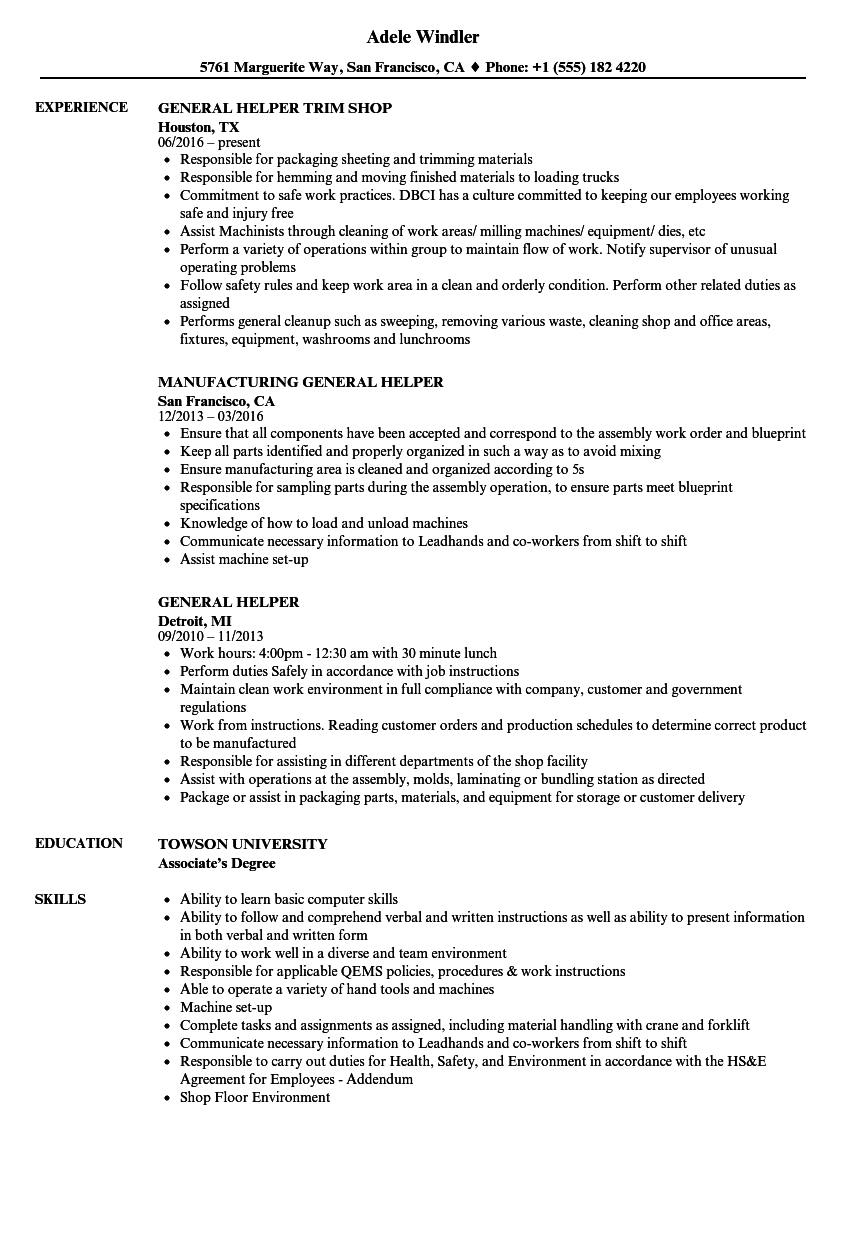 Download General Helper Resume Sample As Image File