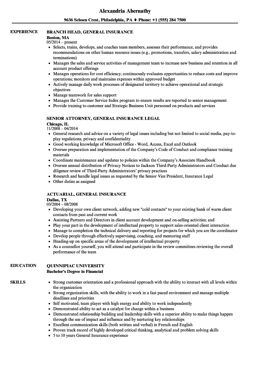 download general insurance resume sample as image file - Insurance Resume Examples