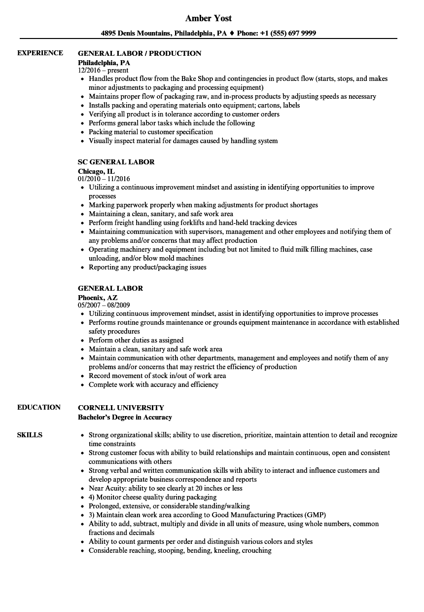 General Laborer Resume Zanka Opencertificates Co