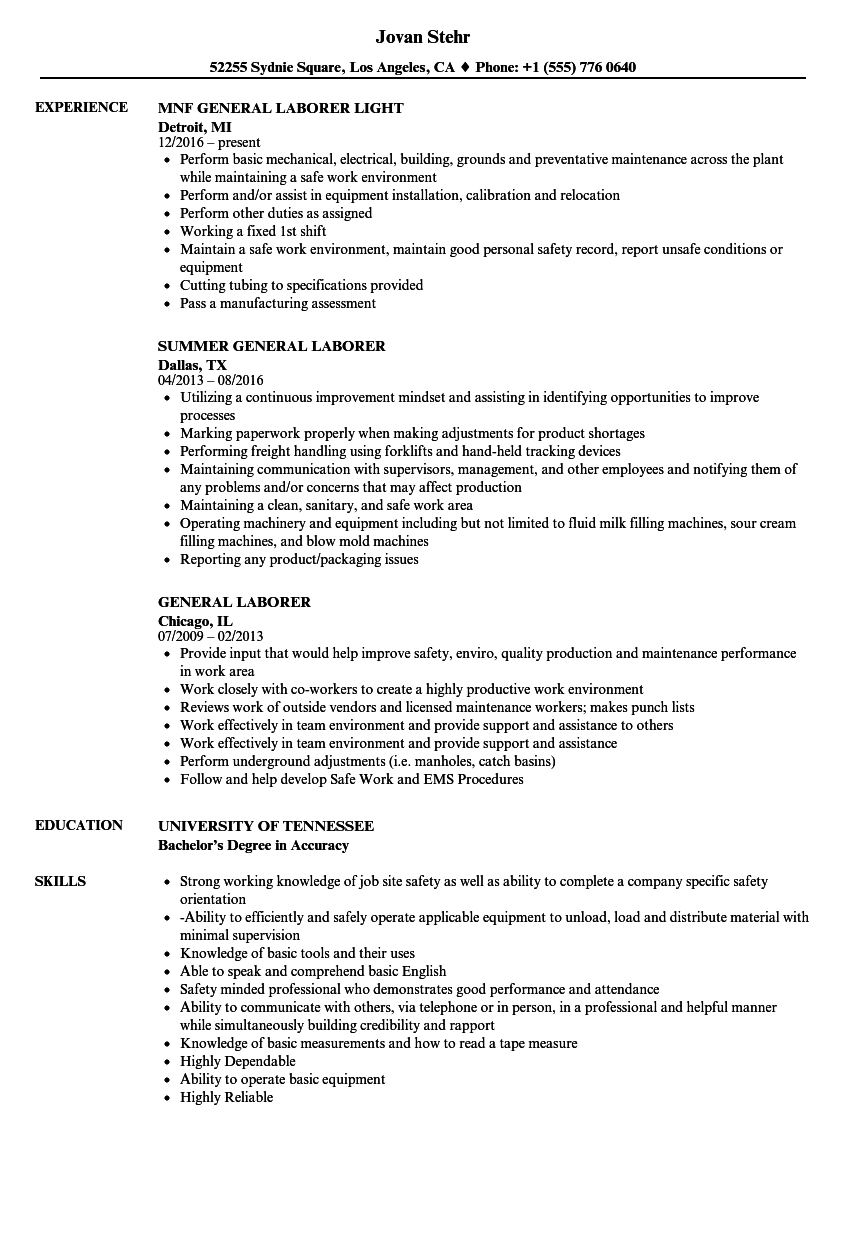 General Laborer Resume Choice Image  Free Resume Templates Word