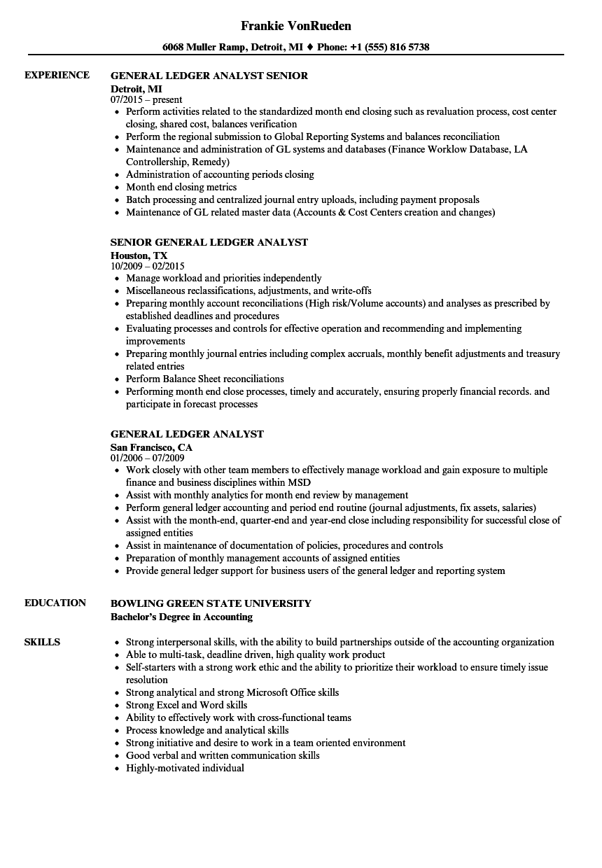 General Ledger Analyst Resume Samples | Velvet Jobs