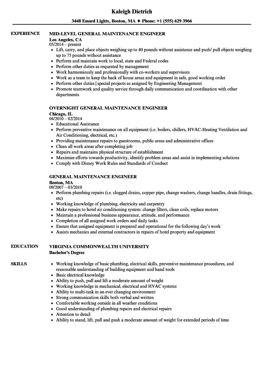 general maintenance engineer resume samples