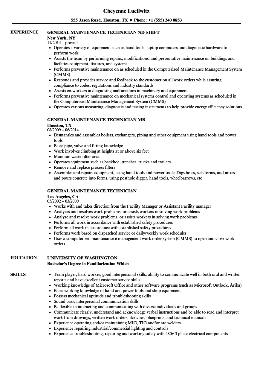 download general maintenance technician resume sample as image file - Wastewater Technician Resume Sample