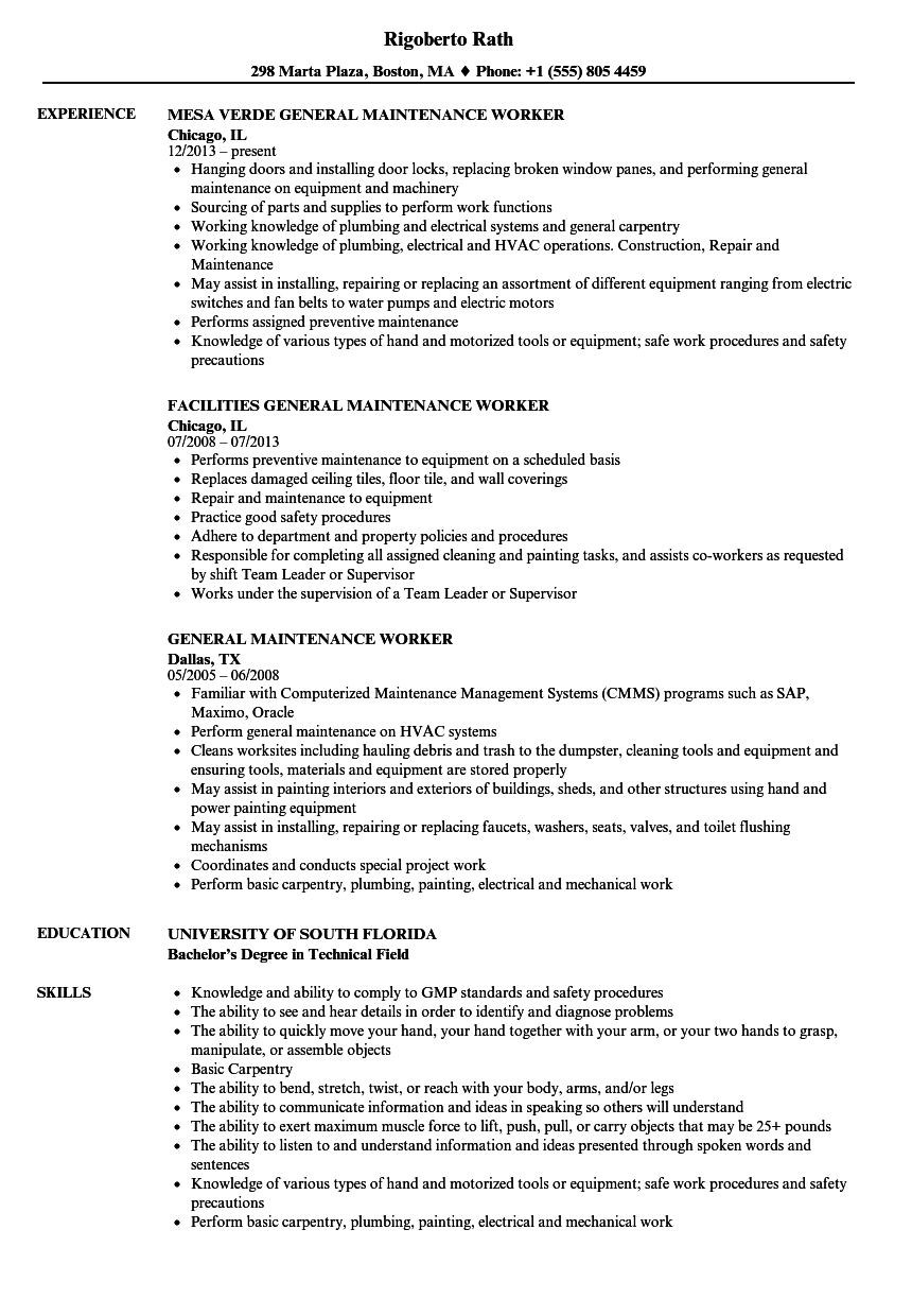 Download General Maintenance Worker Resume Sample As Image File