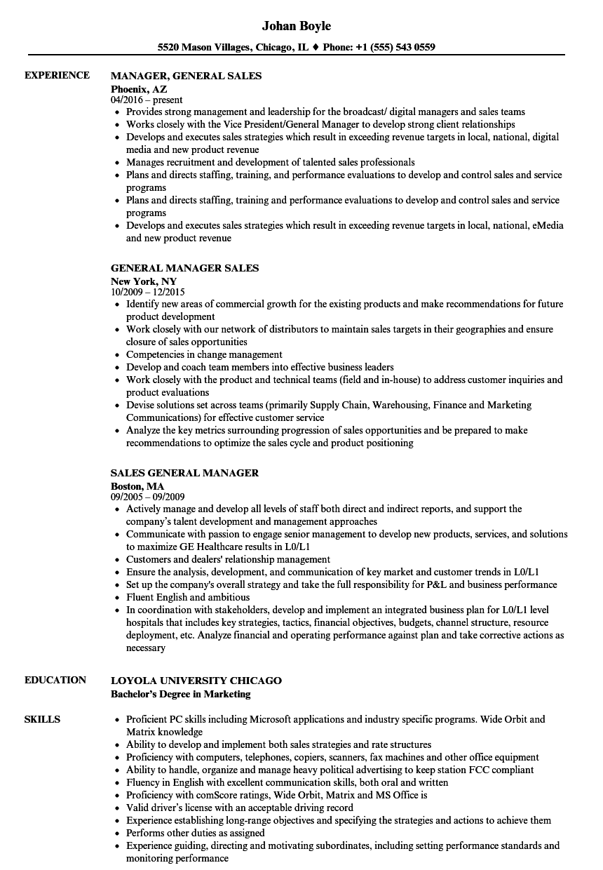 General Manager Sales Resume Samples | Velvet Jobs