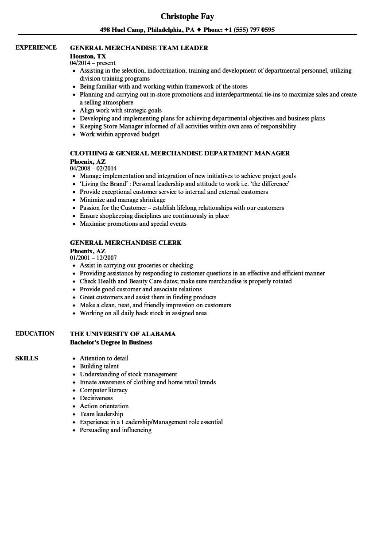 general merchandise resume samples