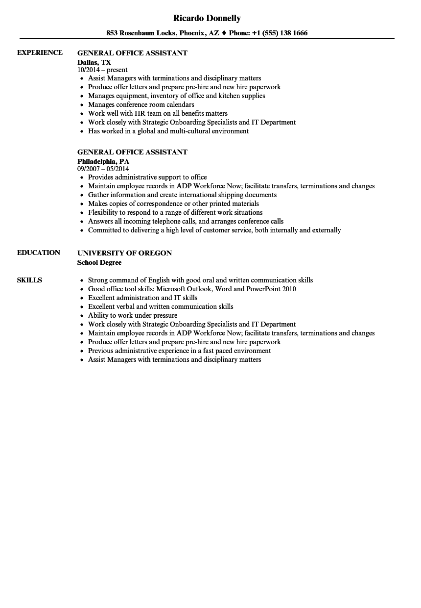 sample resume general office work