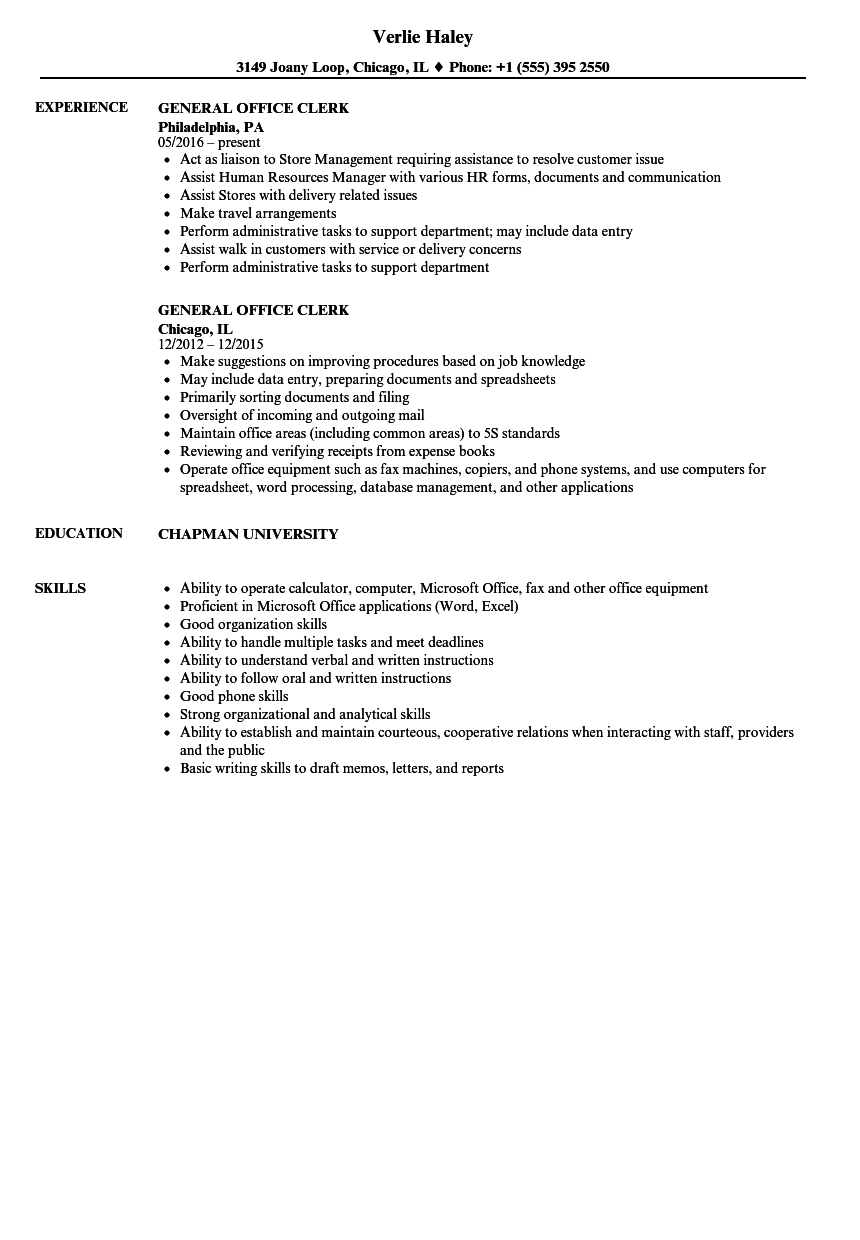 general office clerk resume samples