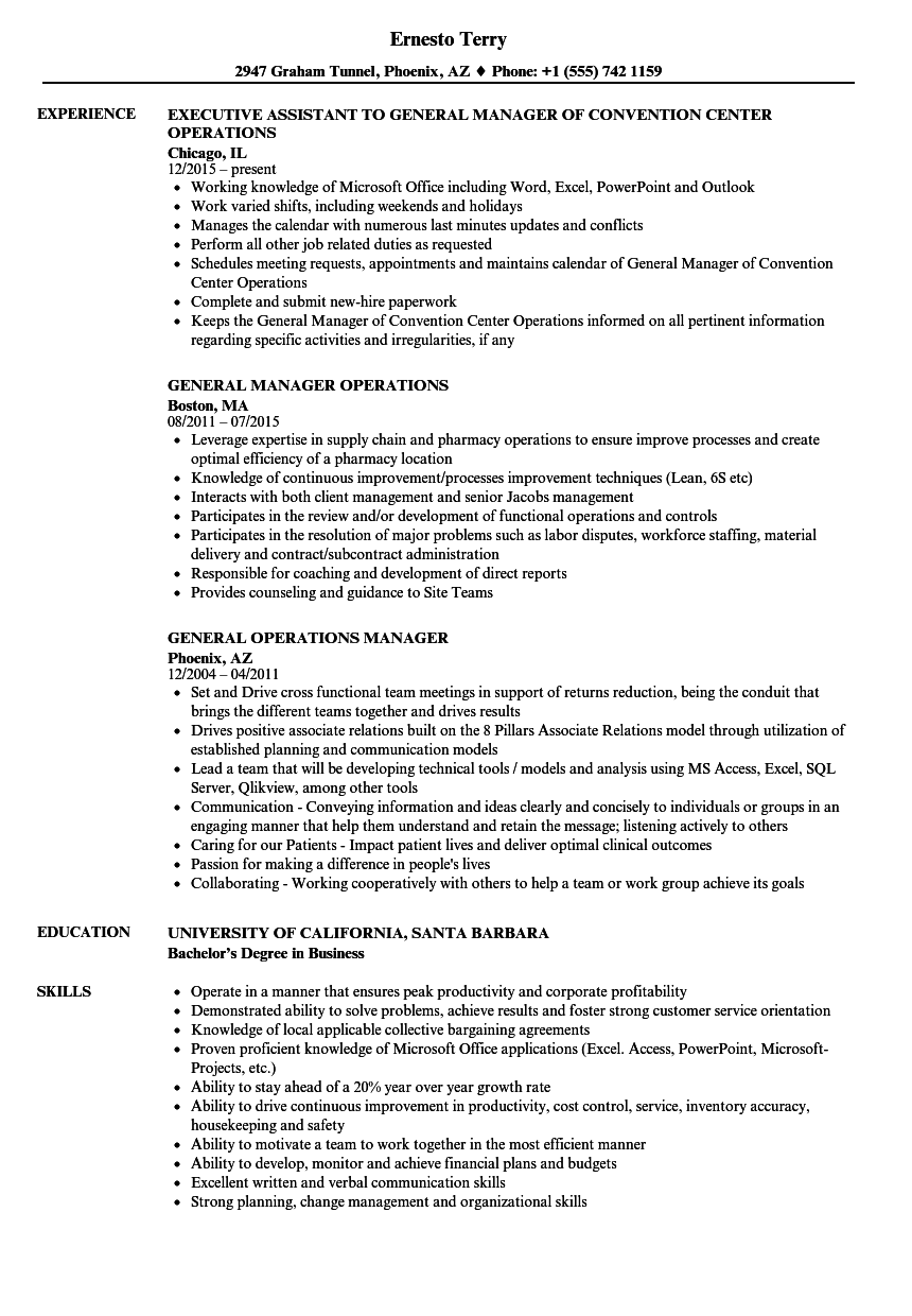 general operations manager resume samples