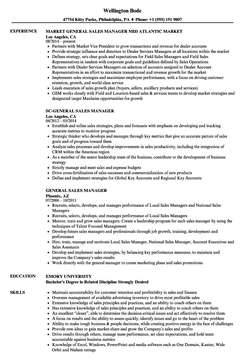 General Sales Manager Resume Examples