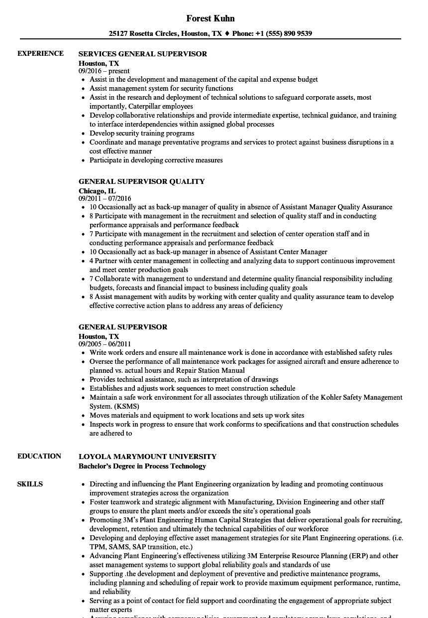 general supervisor resume samples