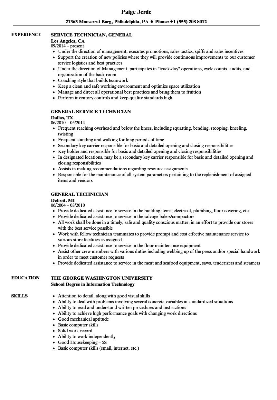 General Technician Resume Samples | Velvet Jobs