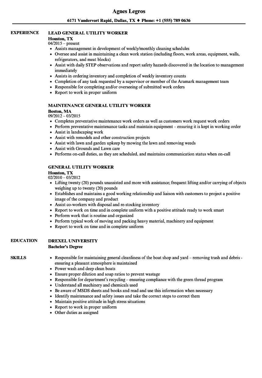 General Utility Worker Resume Samples Velvet Jobs