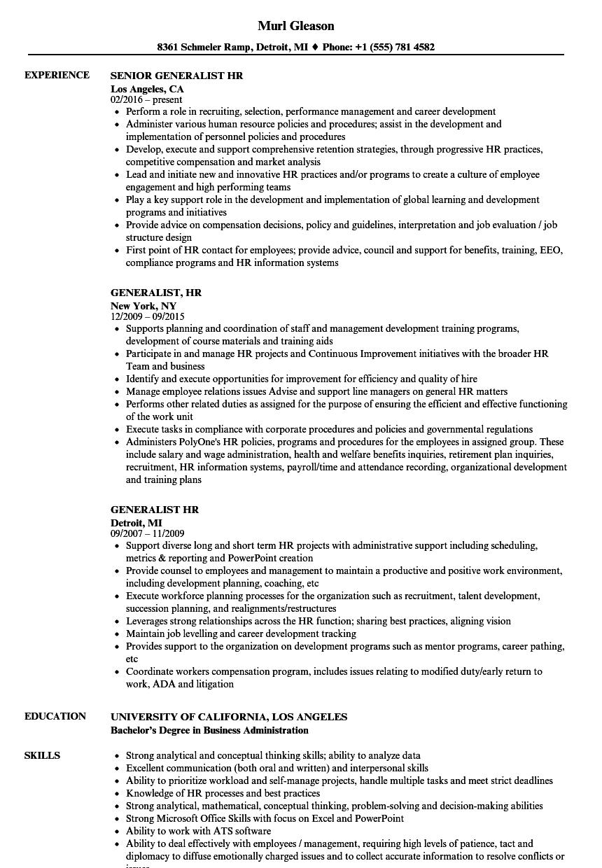 Generalist, HR Resume Samples   Velvet Jobs