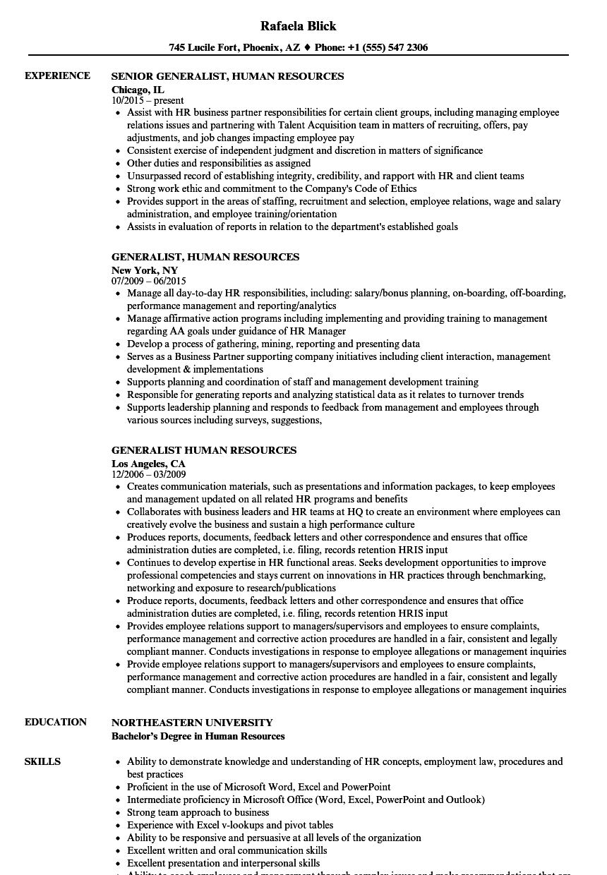 Download Generalist, Human Resources Resume Sample As Image File