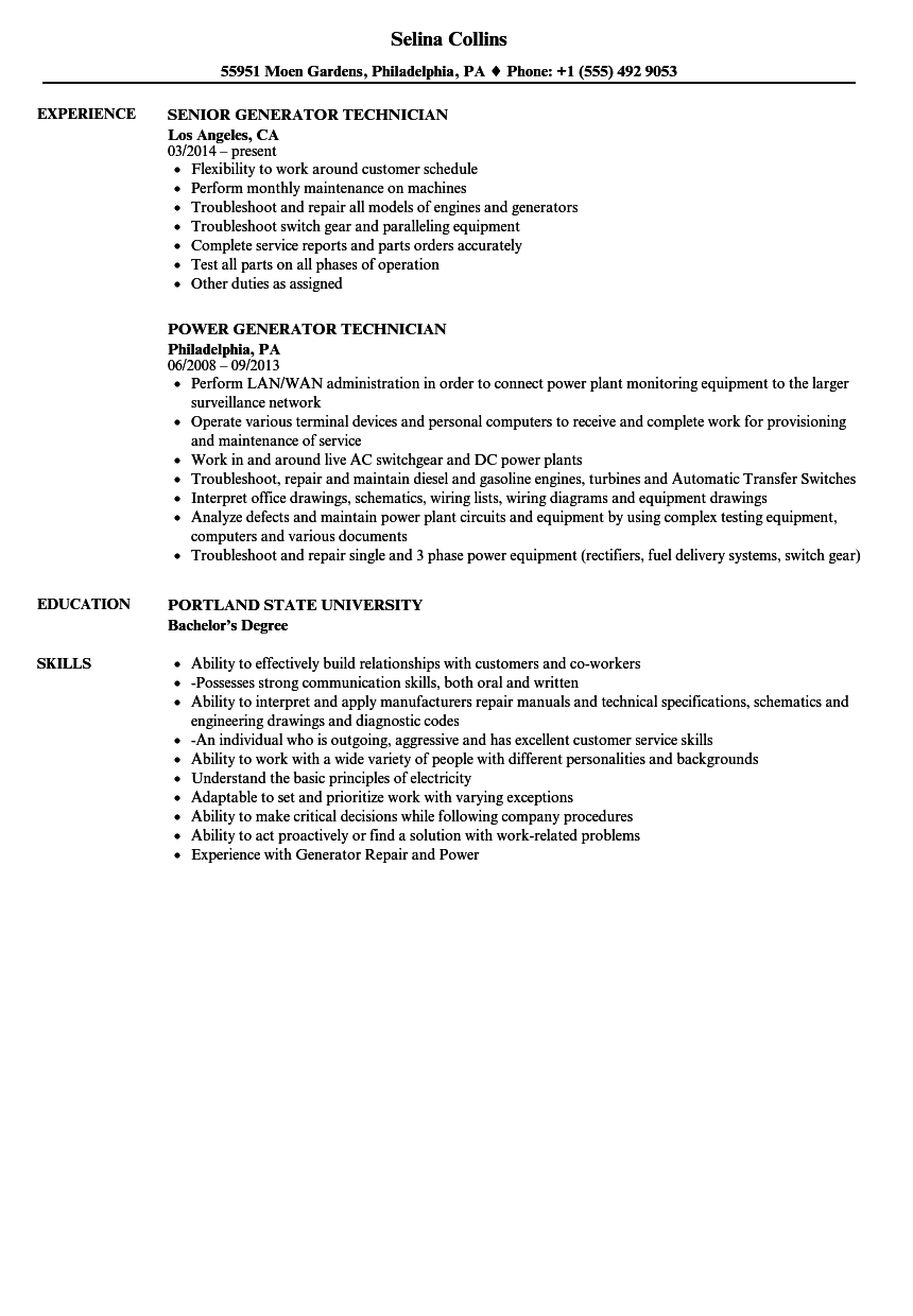 Generator Technician Resume Samples | Velvet Jobs