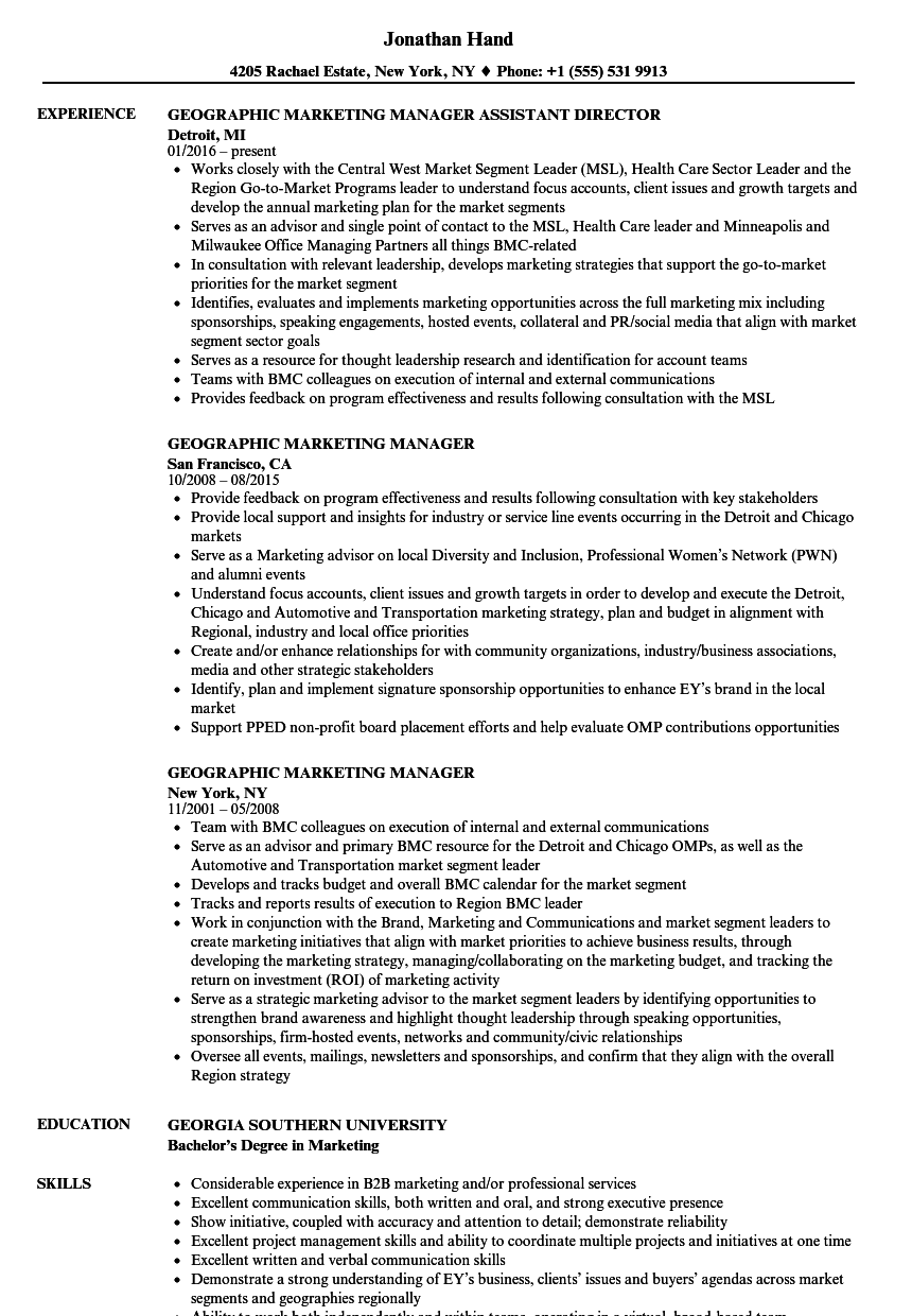 download geographic marketing manager resume sample as image file