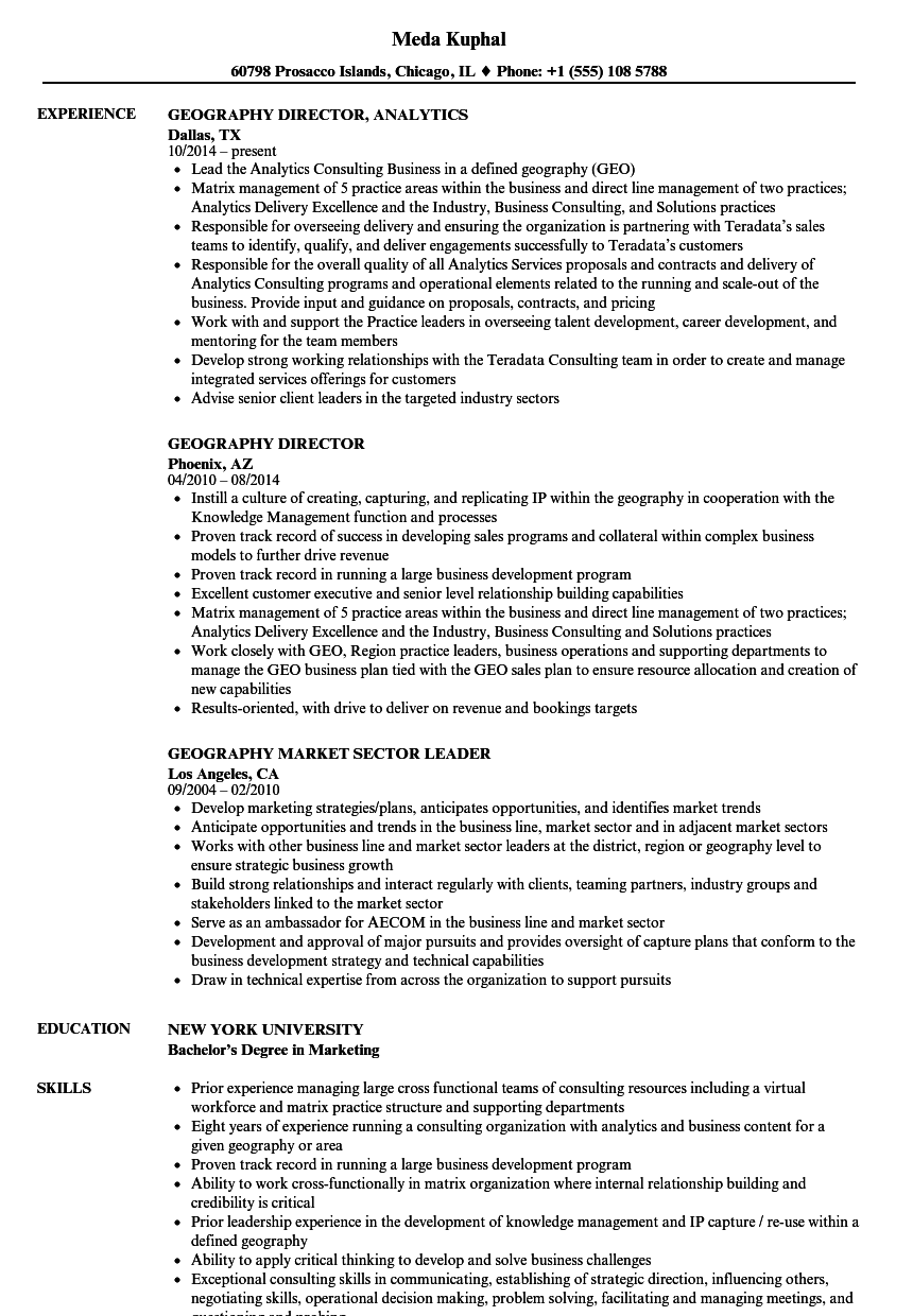 Geography Resume Samples | Velvet Jobs