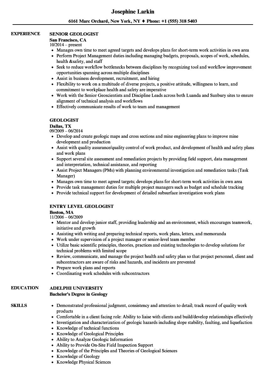 Geologist Resume Samples Velvet Jobs