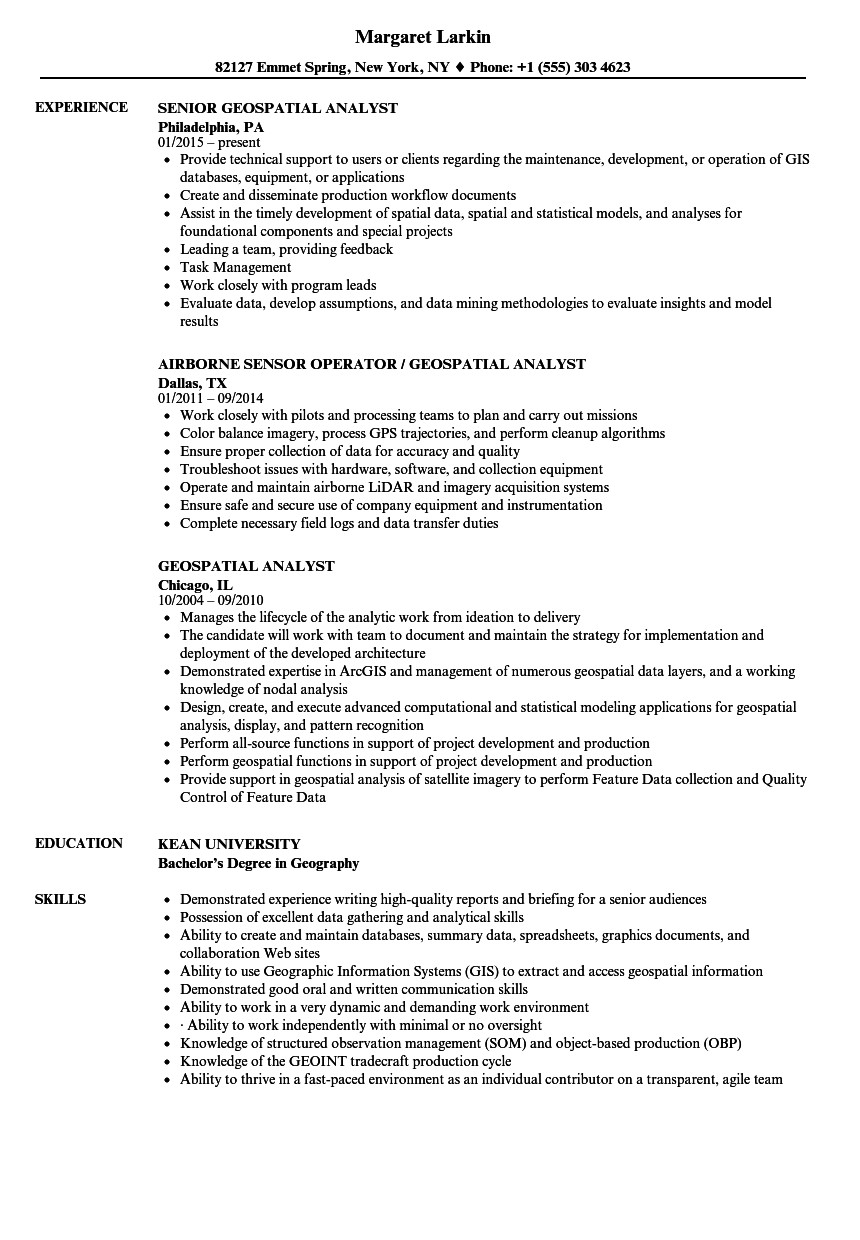 Geospatial Analyst Resume Samples Velvet Jobs