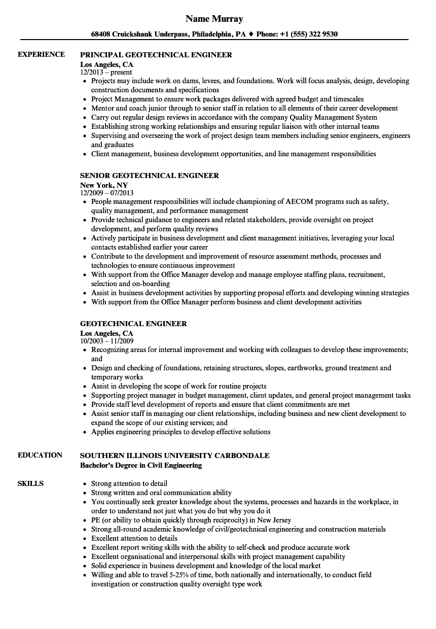 geotechnical engineer resume samples