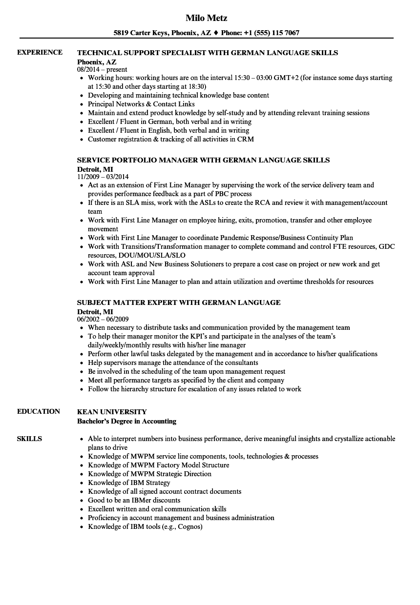 download german language resume sample as image file - Language On Resume Sample