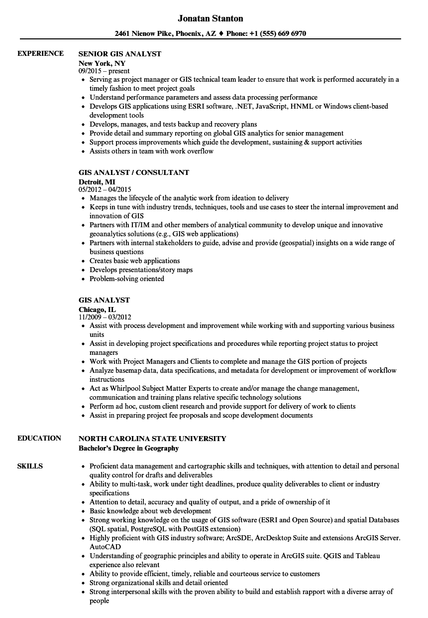 Gis Analyst Resume Samples   Velvet