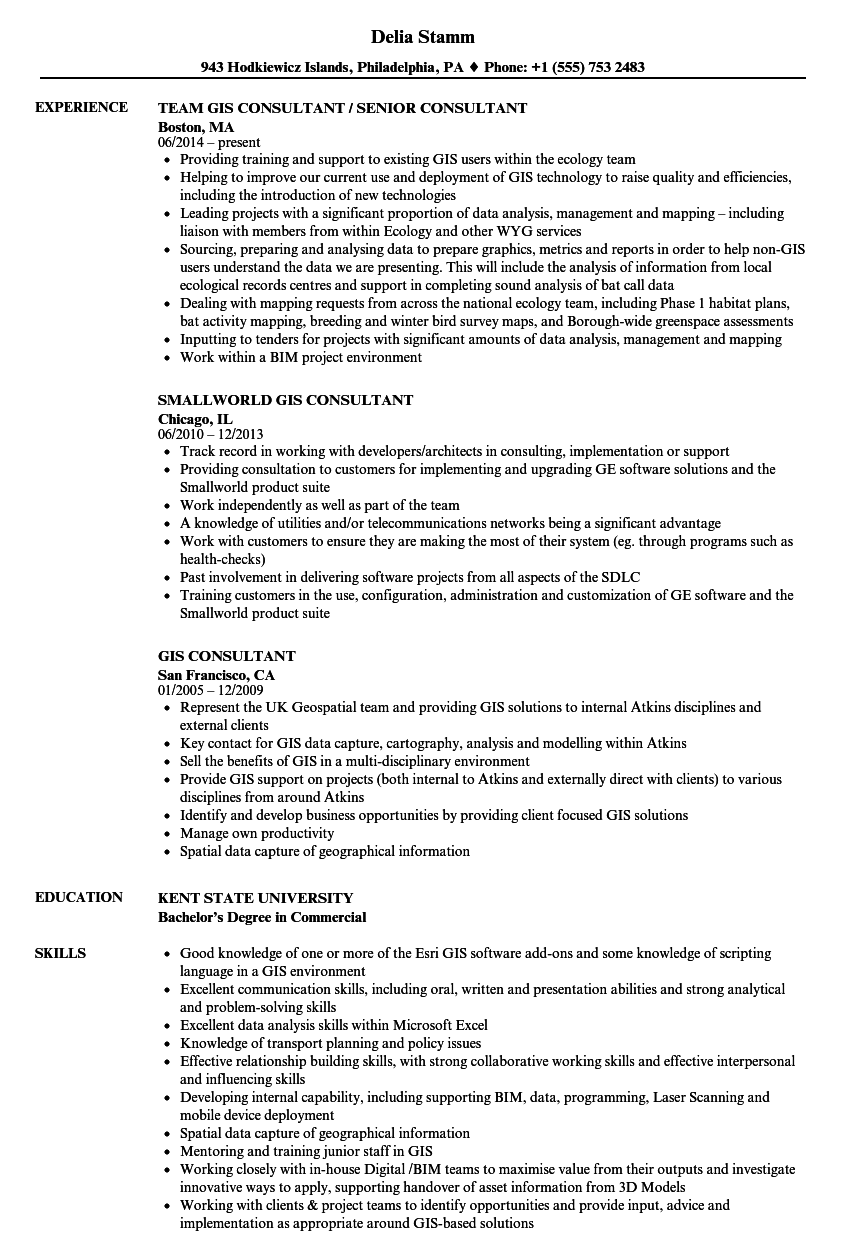 Gis Consultant Resume Samples Velvet Jobs