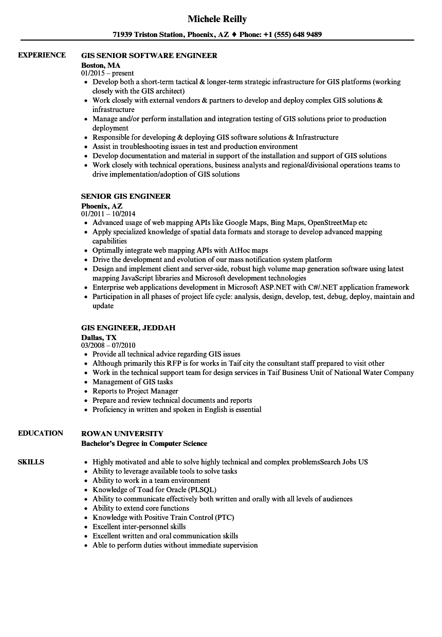gis engineer resume samples