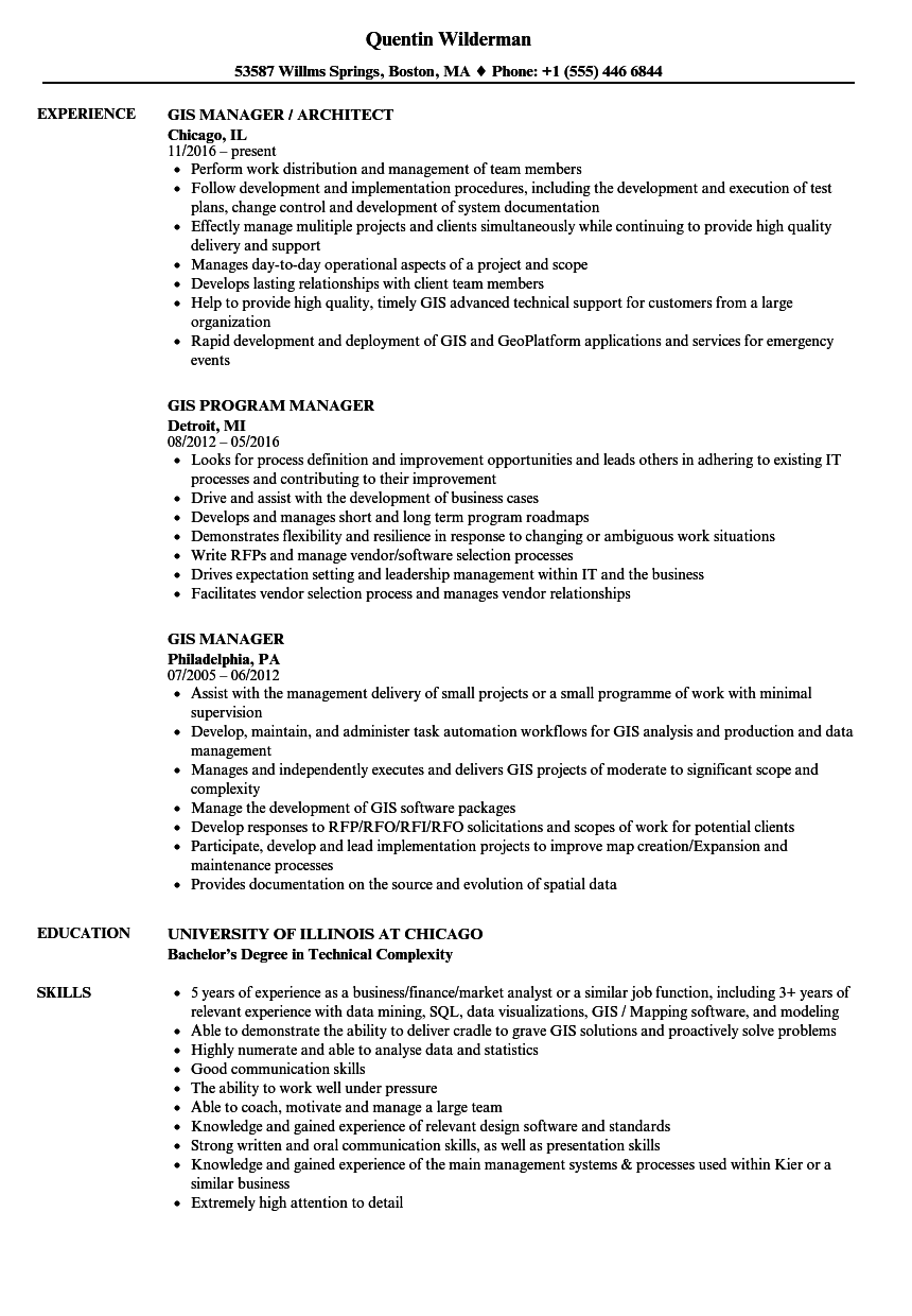 gis manager resume samples velvet jobs