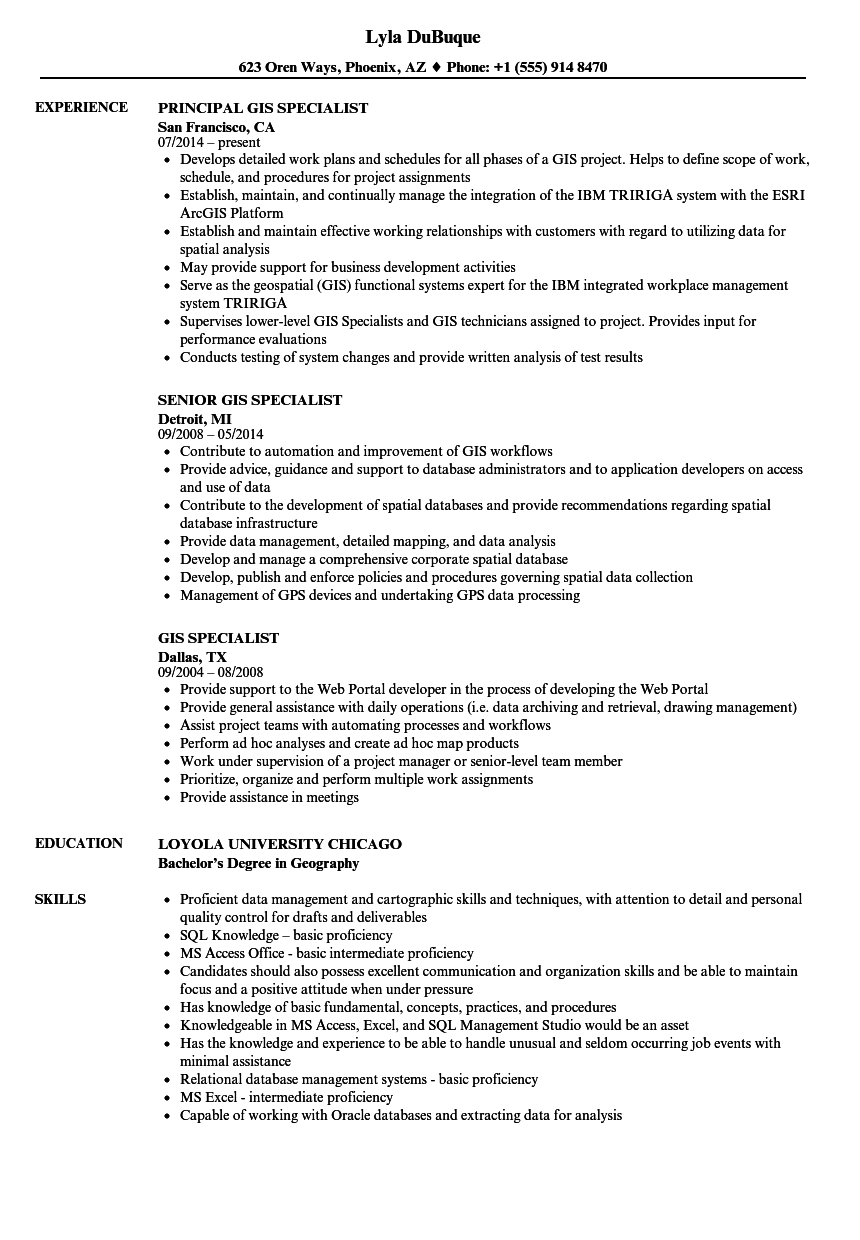 gis specialist resume samples