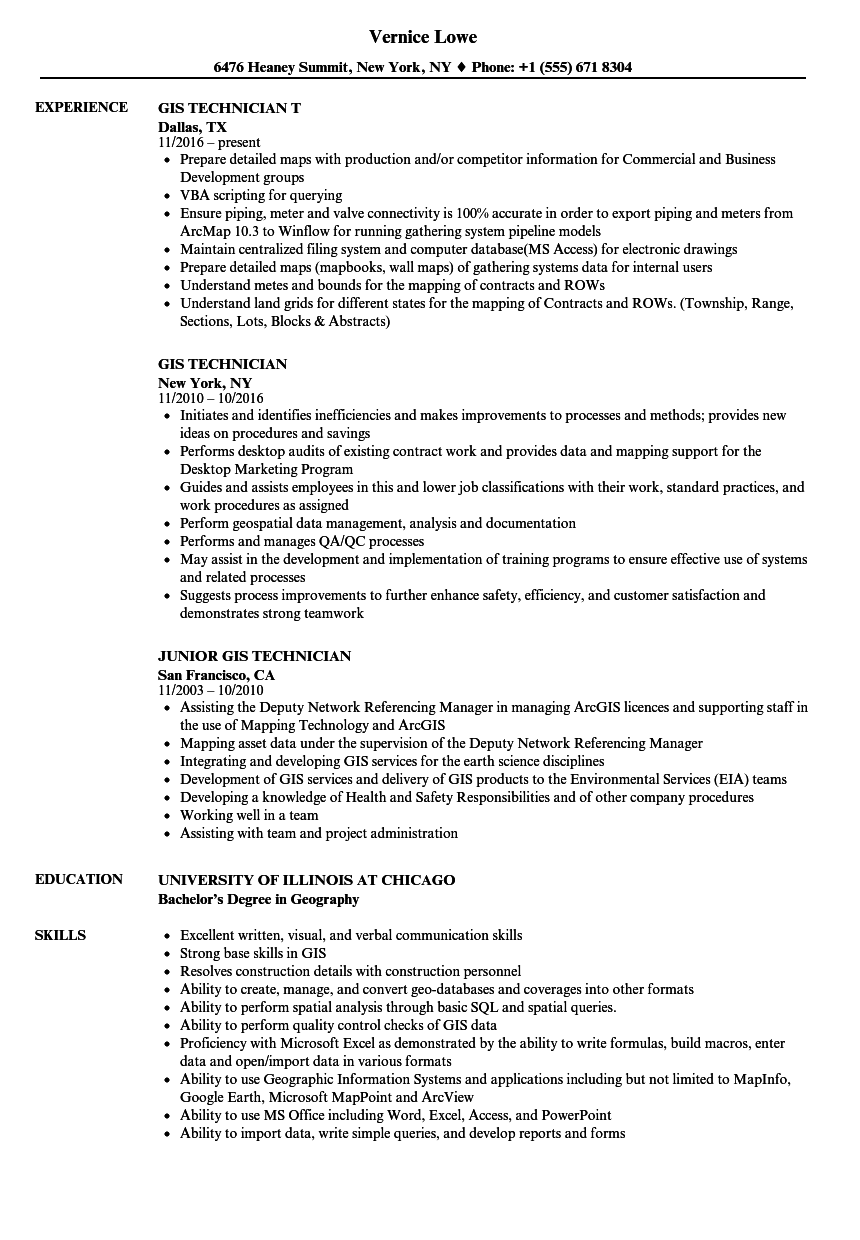gis technician resume samples velvet jobs
