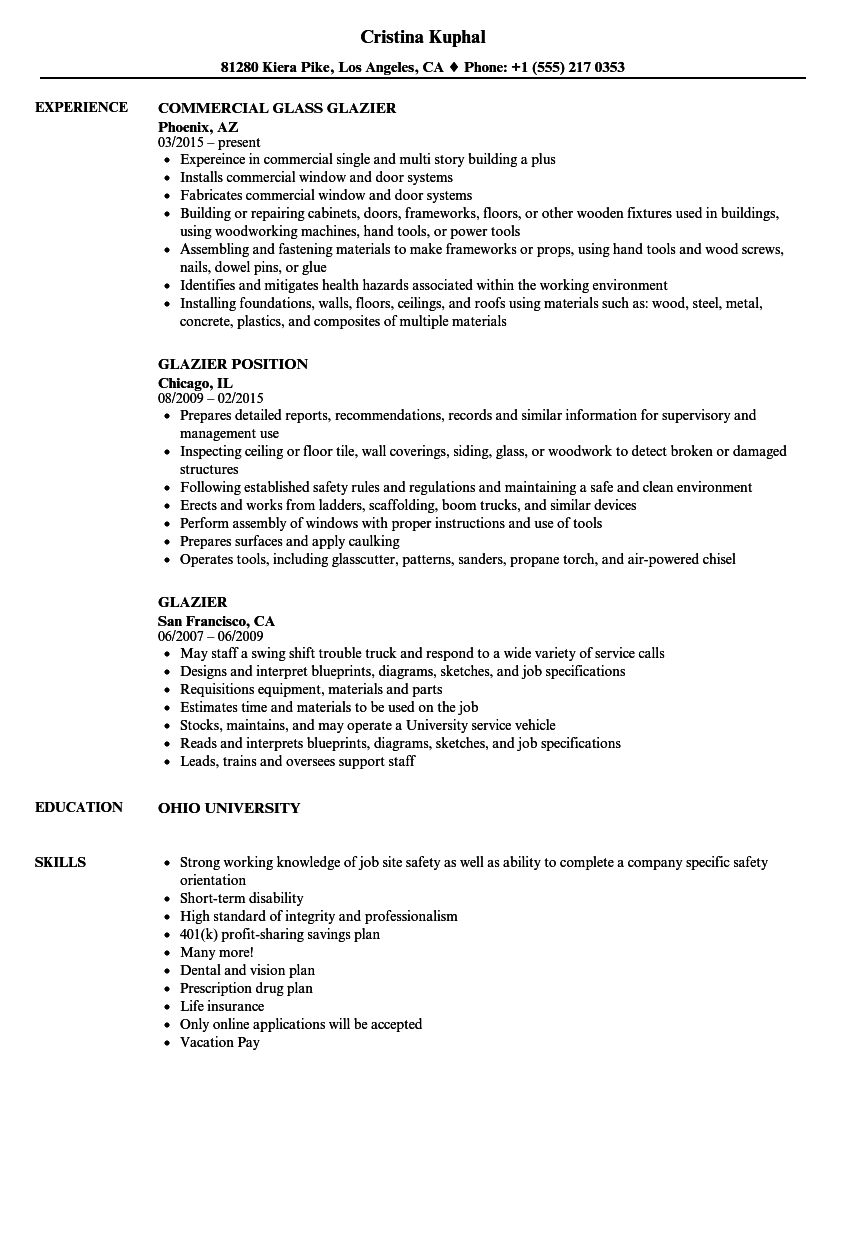 glazier resume samples