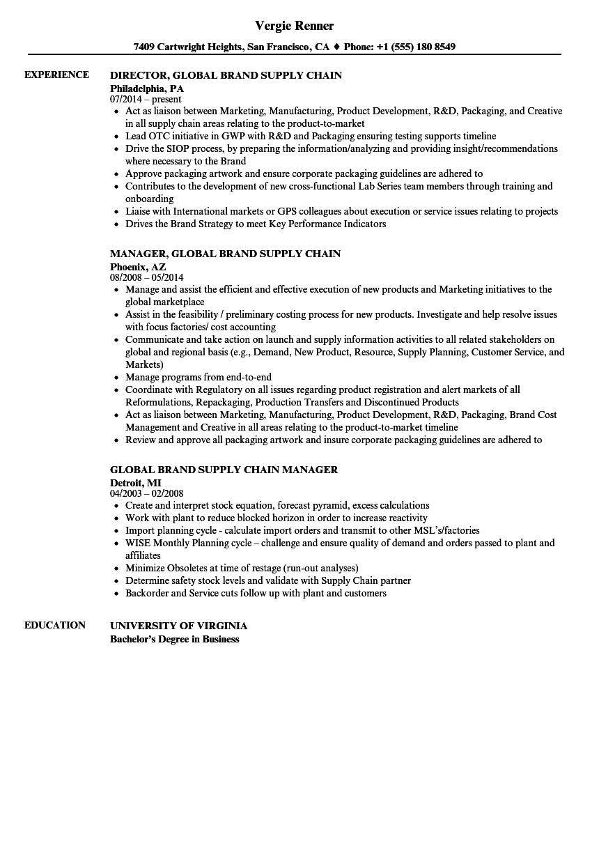 global brand supply chain resume samples
