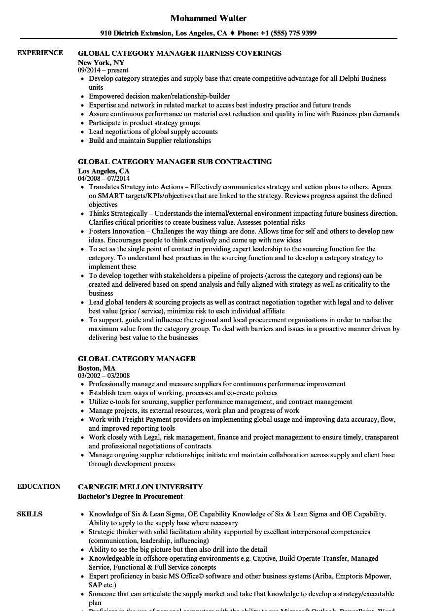 Global Category Manager Resume Samples | Velvet Jobs