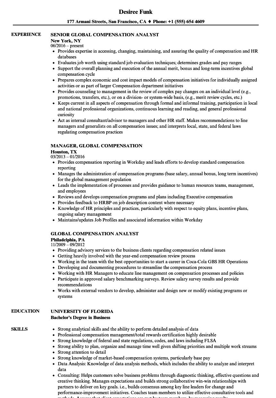 Global Compensation Resume Samples Velvet Jobs