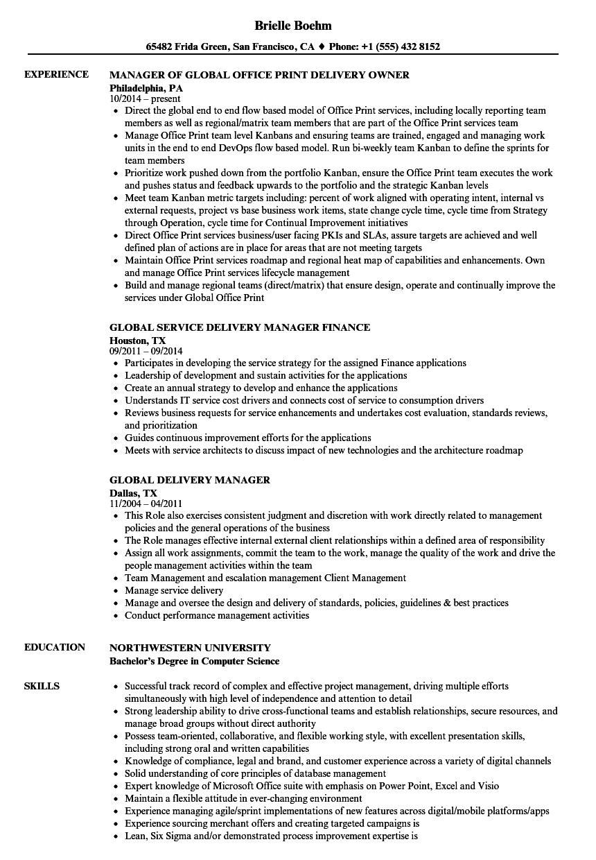 Global Delivery Manager Resume Samples Velvet Jobs
