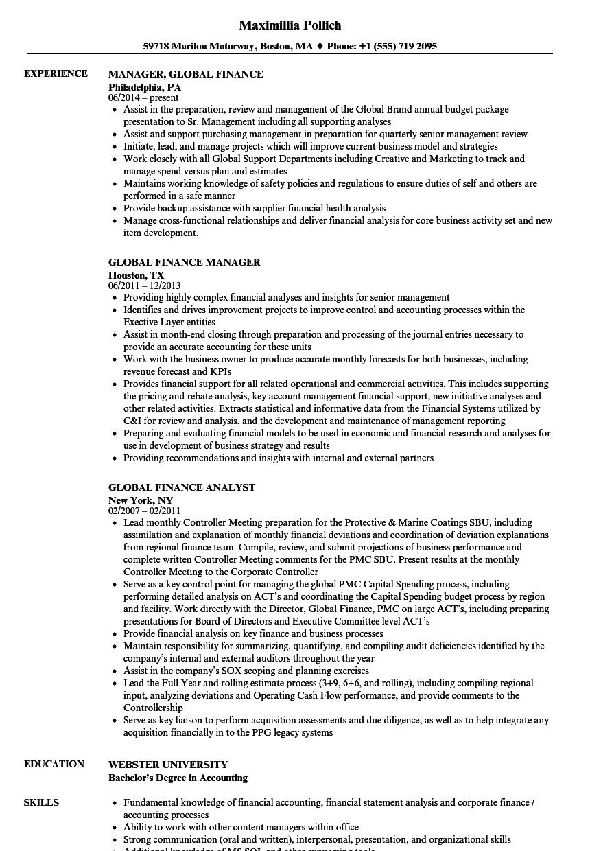 Global Finance Resume Samples   Velvet Jobs