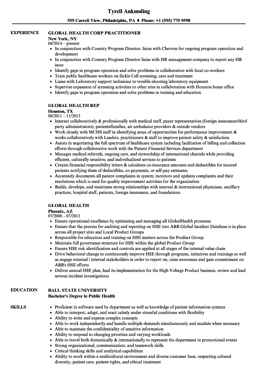 global health resume samples velvet jobs