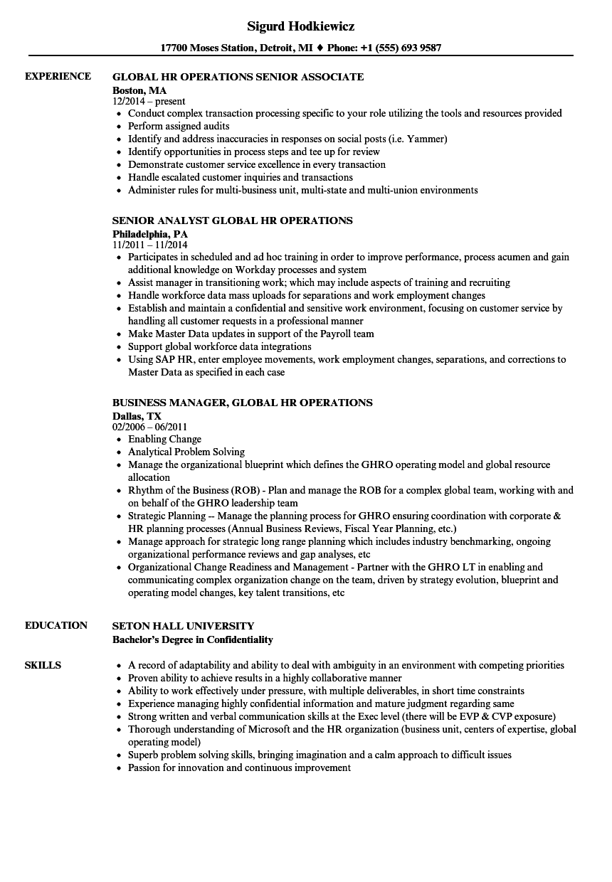 global hr operations resume samples