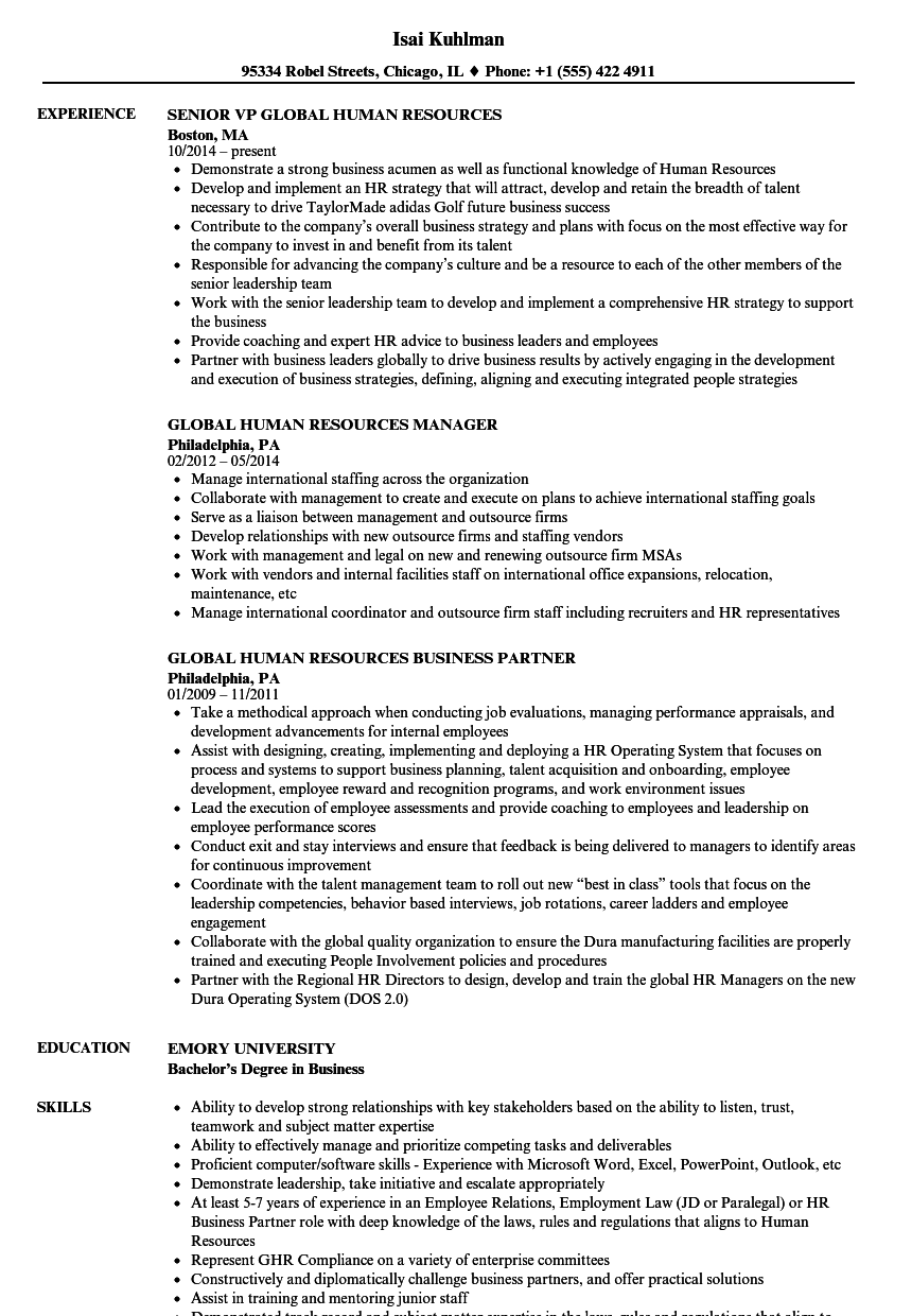 Download Global Human Resources Resume Sample As Image File
