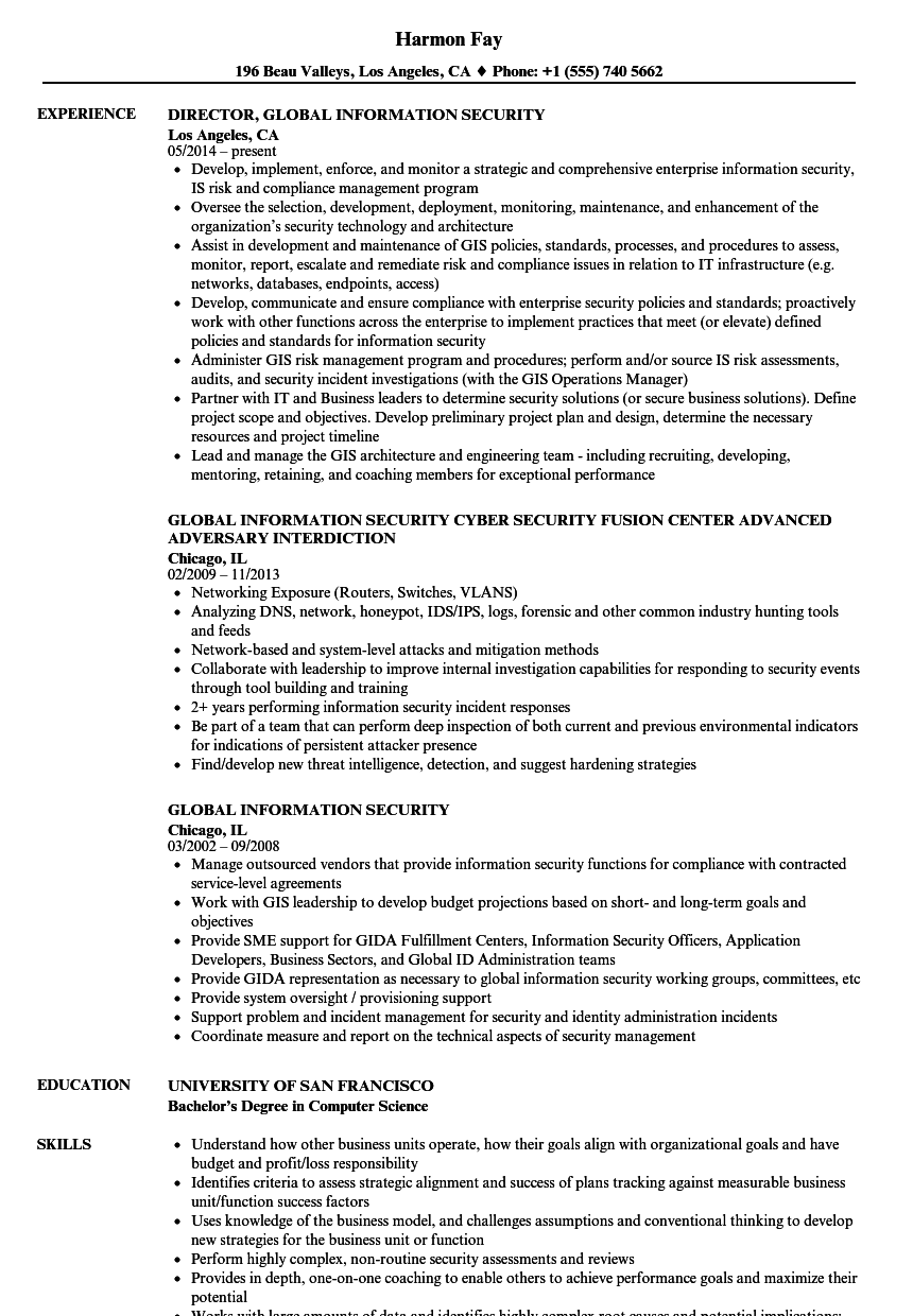 download global information security resume sample as image file - Information Security Resume