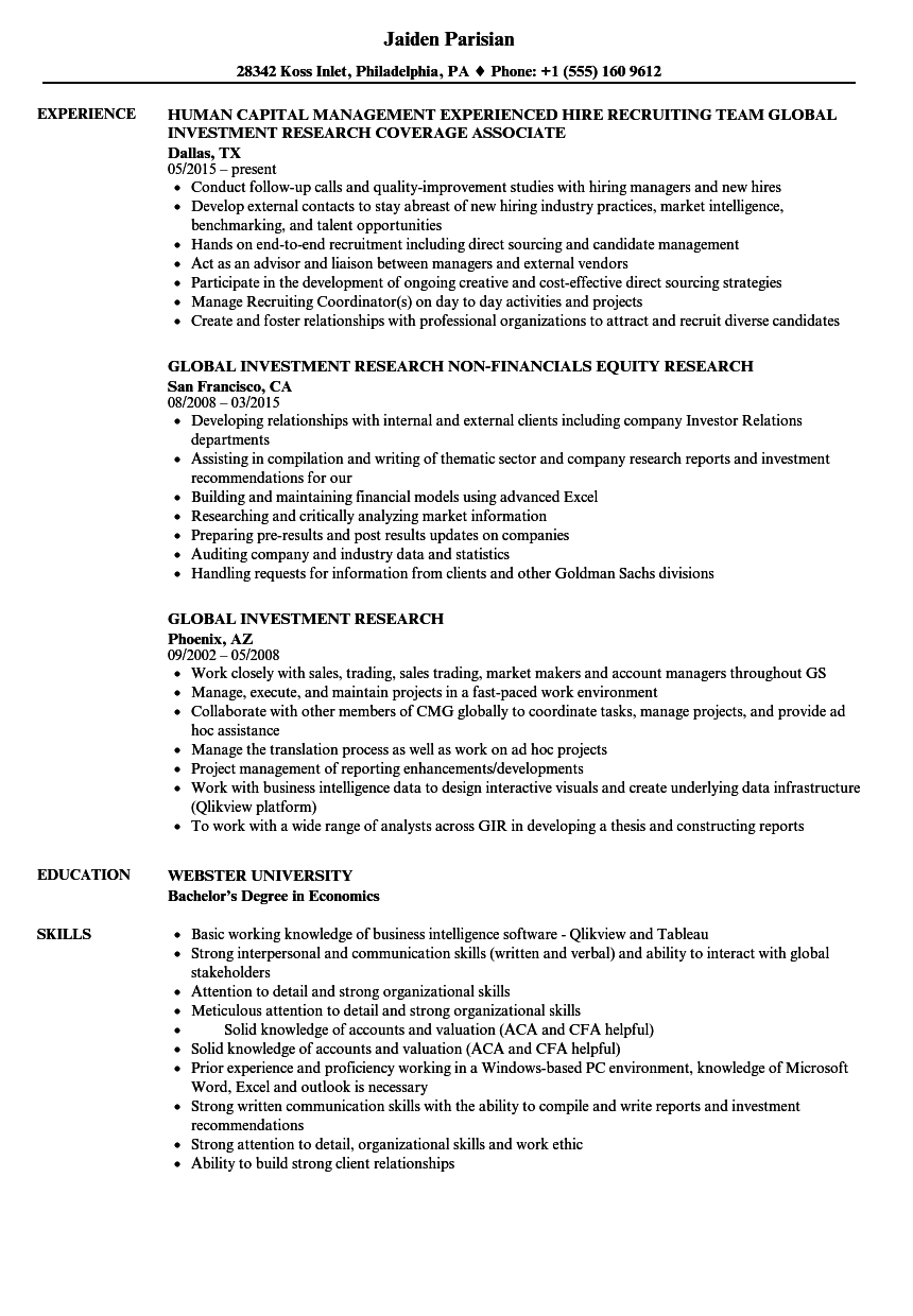 global investment research resume samples