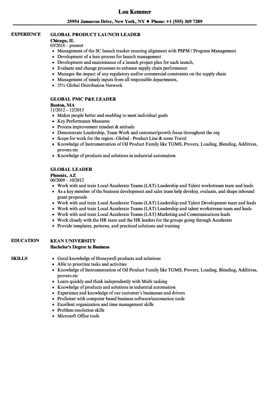 Global Leader Resume Samples | Velvet Jobs