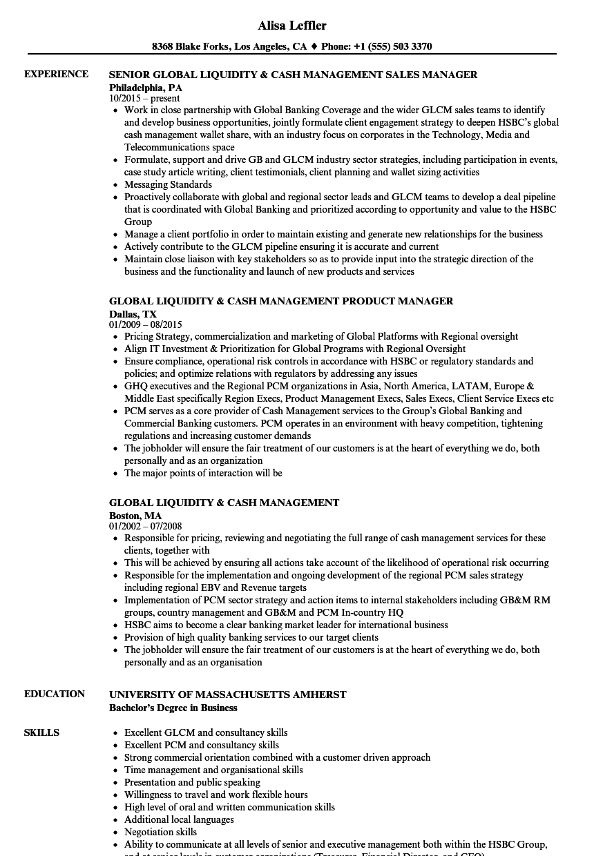 global liquidity  u0026 cash management resume samples