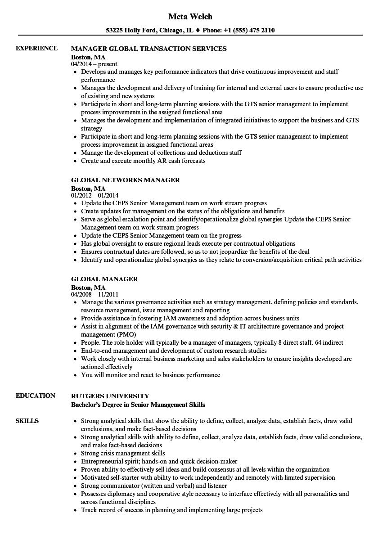 Global Manager Resume Samples | Velvet Jobs
