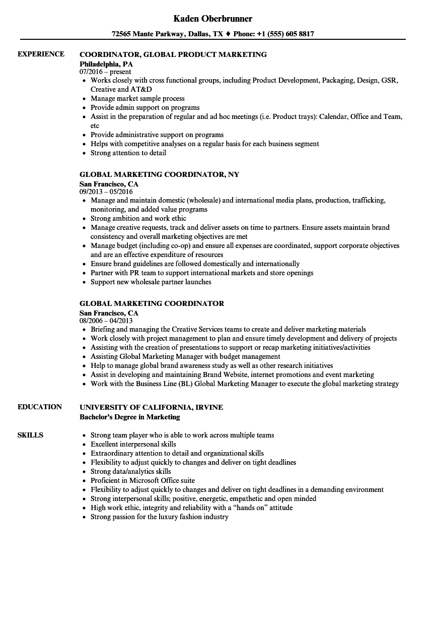 global marketing coordinator resume samples