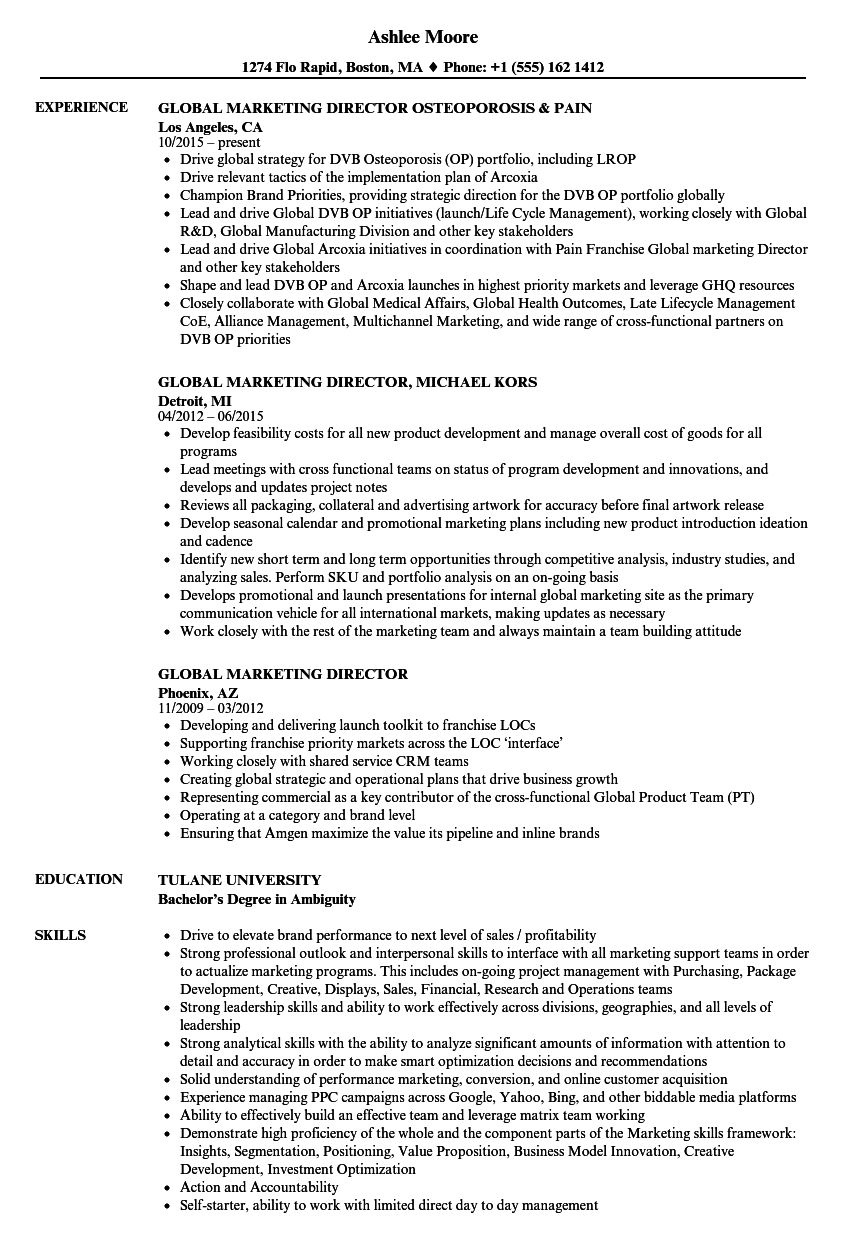 Global Marketing Director Resume Samples Velvet Jobs