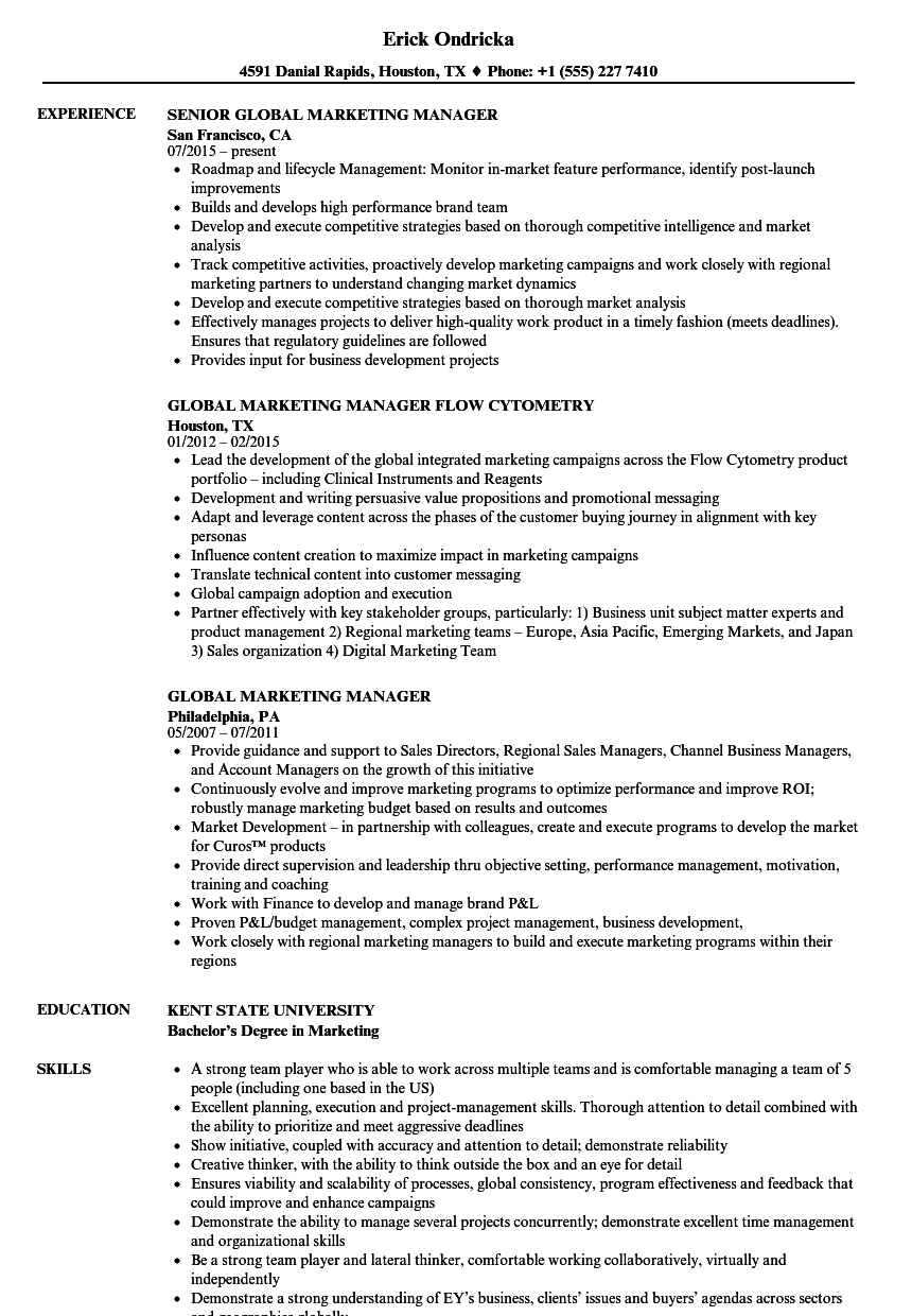 Global Marketing Manager Resume Samples Velvet Jobs