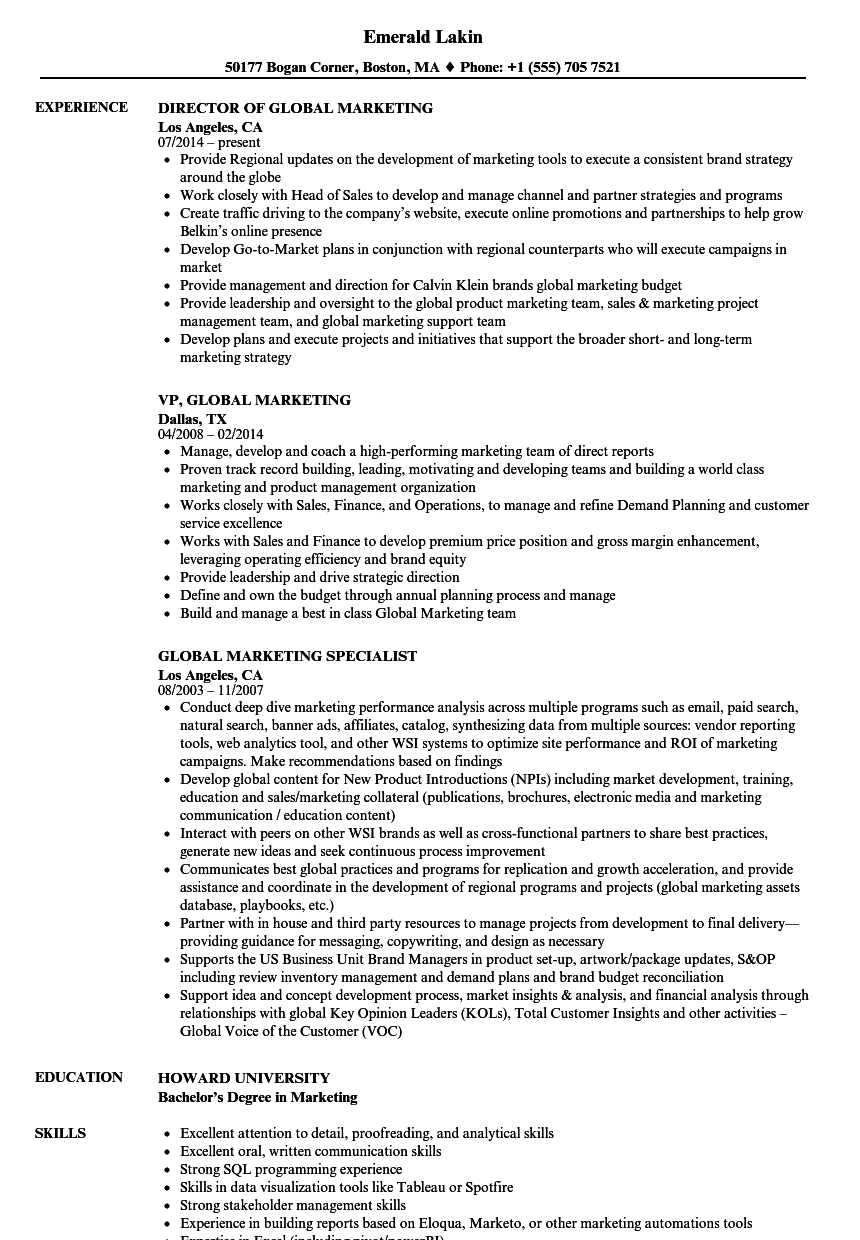 Global Marketing Resume Samples Velvet Jobs
